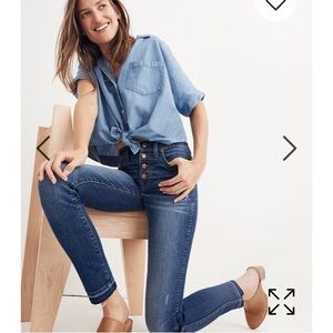 Madewell Drop-hem Button-front Skinny Jeans